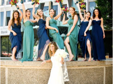 Bridesmaids in aqua and navy