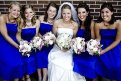 Bridesmaids in cobalt blue