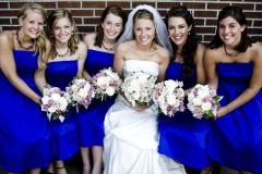 Bridesmaids in cobalt blue