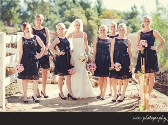 Bridesmaids in dark navy lace dresses