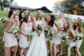 Bridesmaids in lace dresses