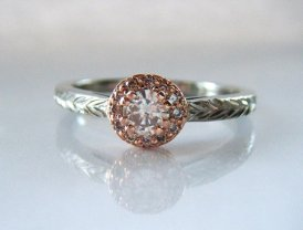 Champagne diamond ring, by adamfosterjewelry on etsy.com