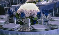 Cobalt blue and silver table setting