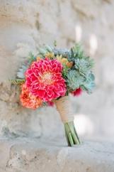 Dahlia and succulent bouquet