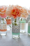 Decorated bottles for centrepieces