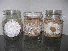 Decorated mason jars, by BertoliBridal on etsy.com