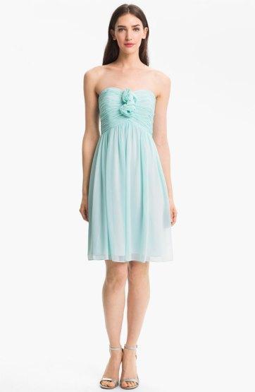 Donna Morgan Strapless Rosette Detail Chiffon Dress, from nordstrom.com