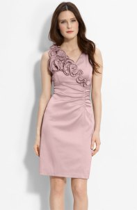 Donna Ricco Ruffle Trim Charmeuse Sheath Dress, from nordstrom.com