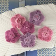Fabric flowers, by isakayboutique on etsy.com