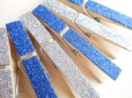 Glitter clothespegs (handy for table numbers etc), by HandmadeByHeather4U on etsy.com