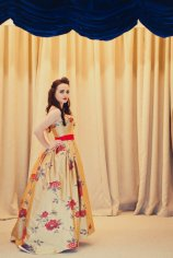 Gold and red floral wedding dress, by alexandrakingdesign on etsy.com