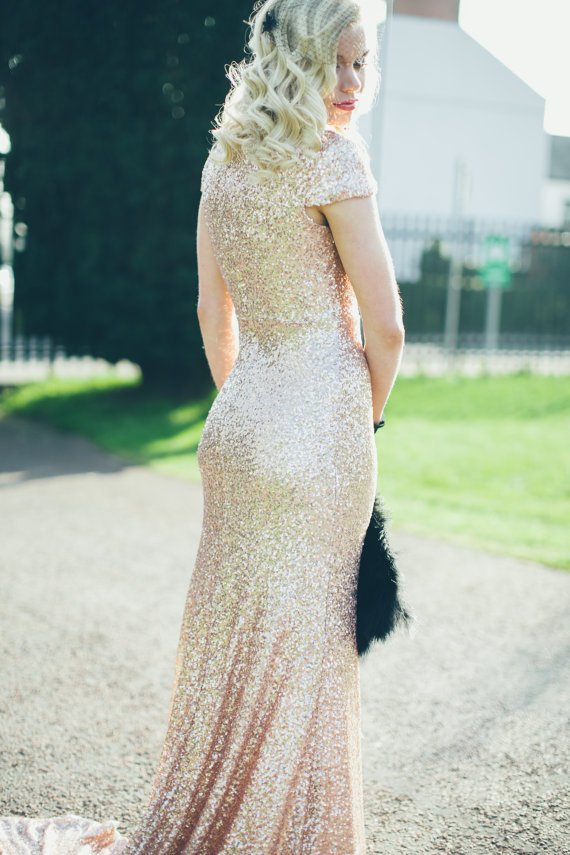 Gold sparkly wedding dress, by WillowMoone on etsy.com