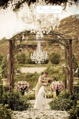 Gorgeous chandelier for an outdoor wedding ceremony