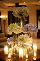 Hydrangeas and candles