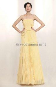 Lemon-yellow chiffon wedding dress, by Myweddinggarment on etsy.com