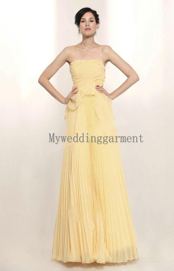 Lemon Yellow Chiffon Wedding Dress By Myweddinggarment On