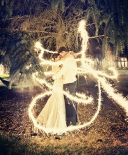 Long exposure photo with sparklers