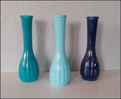 Milk glass vases, by PaintJunkies on etsy.com