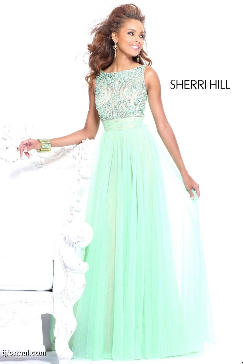 Mint-green Sherri Hill Dress, from tjformal.com | The Merry Bride
