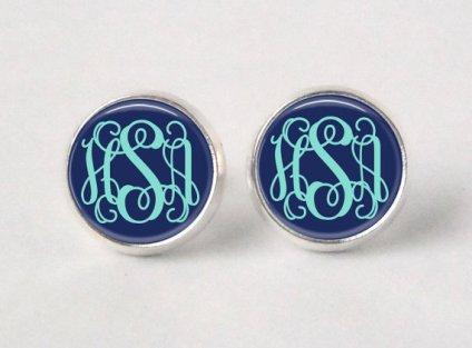 Monogram stud earrings, by neworleansbeanieco on etsy.com