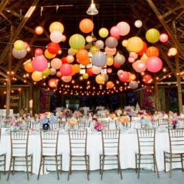Multi-coloured paper lanterns