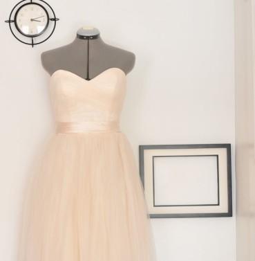 Peach tulle wedding dress, by TingBridal on etsy.com