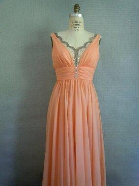 Peach wedding dress, by SararaVintage on etsy.com