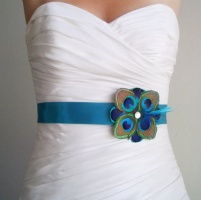 Peacock feather bridal sash