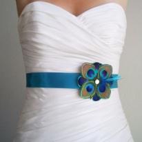 Peacock feather bridal sash