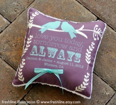 Personalised ring pillow, by Freshline on etsy.com
