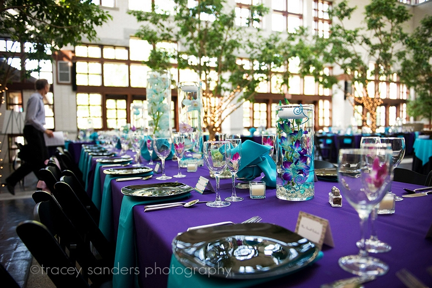 Purple And Turquoise Reception The Merry Bride