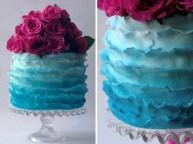 Turquoise ruffle cake
