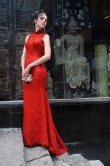 Red high-neck wedding dress, by MermaidBridal on etsy.com