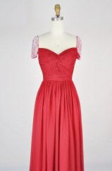 Red wedding dress with cap sleeves, by Mondora on etsy.com