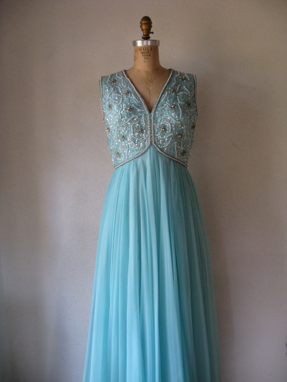 Vintage 1960s Blue Wedding Dress By SHESABETTIE On Etsy