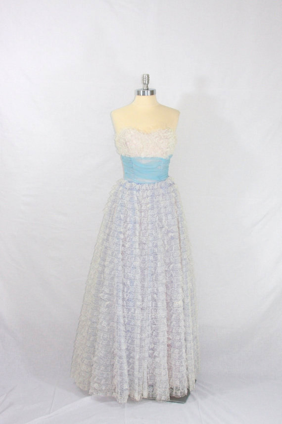 Vintage blue and white lace wedding dress by for White vintage wedding dresses