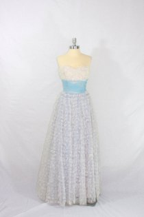 Vintage blue and white lace wedding dress, by VintageFrocksOfFancy on etsy.com