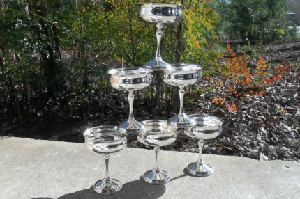 Vintage silver champagne glasses, by misshettie on etsy.com