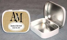 Wedding favour mint tins, by PersonalizedCandles on etsy.com