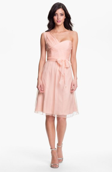Amsale One Shoulder Crinkle Silk Chiffon Dress, from nordstrom.com
