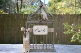 Birdcage card-holder, by SgtPeppersHeartsClub on etsy.com