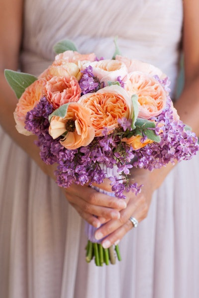 Peach and purple weddi...