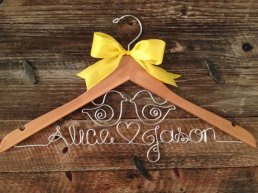 Bridal gown hanger, by GetHungUp on etsy.com