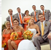 Bridal party in orange and grey