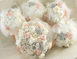 Bride and bridesmaid brooch bouquets, by SolBijou on etsy.com