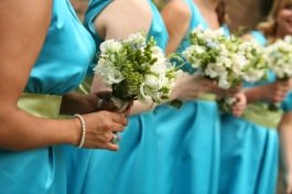 Bridesmaids in turquoise and chartreuse
