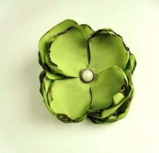 Fabric flower clip, by InspiredGreetingsAD on etsy.com