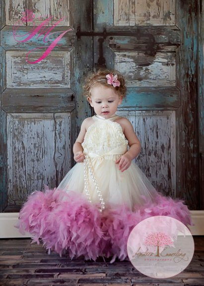 Flower girl feather dress, by sharpsissors on etsy.com