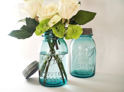 Mason jars, by vintagebiffann on etsy.com