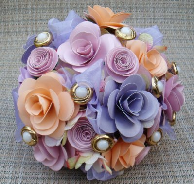 Paper flower bouquet, by SweetPeasPaperFlower on etsy.com